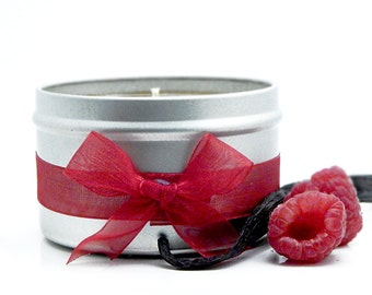 Raspberry & Vanilla Scented Candle 8oz Candle Tin