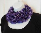 LYI31: Lace Yarn Infinity Scarf (Purple Fabric) FREE SHIPPING