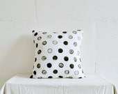 Black & White Polka Dots Pillow, hand-painted decorative pillow, throw pillow for Living Room and Home Decor.