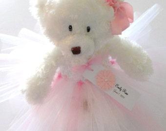 White Teddy Bear, New Baby Girl Gift, Personalized Teddy Bear, Baby Keepsake