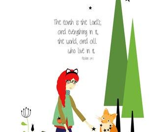 Psalm 24:1 // Art Print // Scripture Inspired