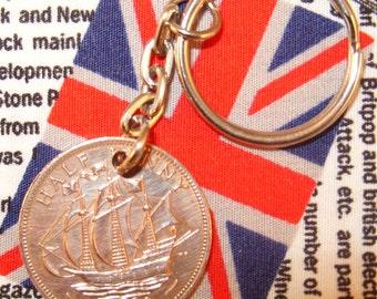 1959 Ha'penny Old Half Penny English Coin Keyring Key Chain Fob Queen Elizabeth II