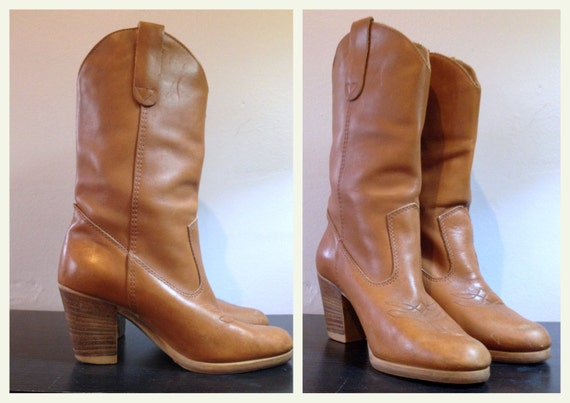 s light brown leather boots with high heels