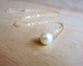 Single Pearl Necklace - 14k Gold or Sterling Silver - Fresh Water Pearl Necklace - June Birthstone - Bridal Necklace - Simple Delicate Thin