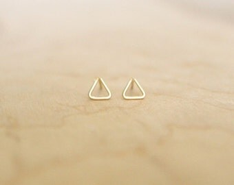 Triangle Stud Earrings - 14k Gold Fill or Sterling Silver - Tiny Studs - Minimalist - Wire Wrapped Earrings - Geometric Studs - Small Studs