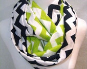 2 pack lot - 1 each Navy Blue and Lime Green Chevron MEDIUM length Infinity Scarves - team colors - Seattle Seahawks - ChevronScarf