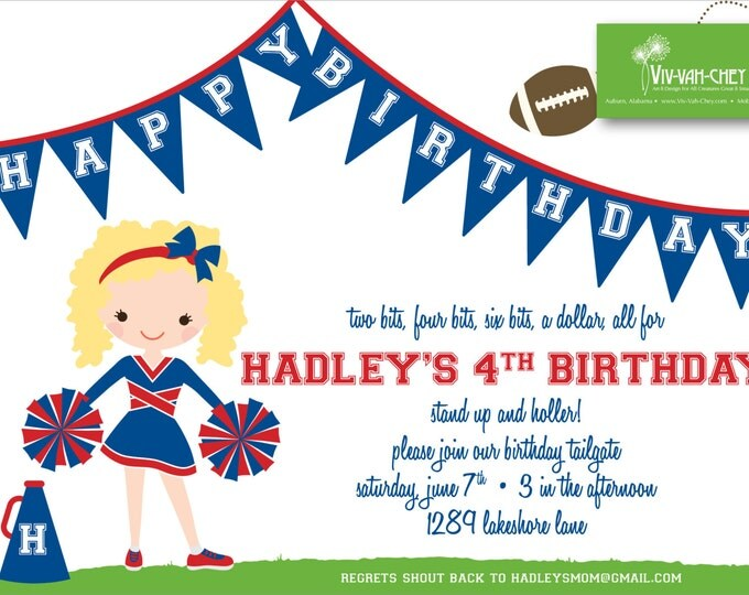 Little Cheerleader Birthday Invitation | Digital Download