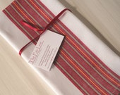 Cotton Dish Towels, Set 2, Fair Trade, Handwoven, White with Red Stripes, Kitchen, Tea, Hand, Guest, Decorative Towel