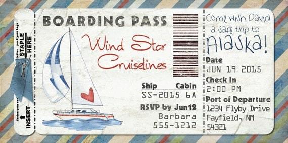 Segelboot-Bordkarte Einladung für Hochzeit Geburtstag