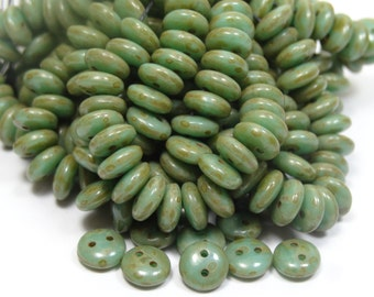 2 Hole 6mm Czech Glass Lentils Green Turquoise Picasso  50 Pieces