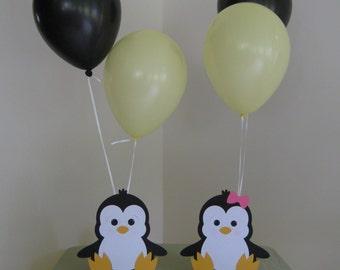 2 Penguin Birthday Party Centerpiece Balloon Holders Boy/Girl