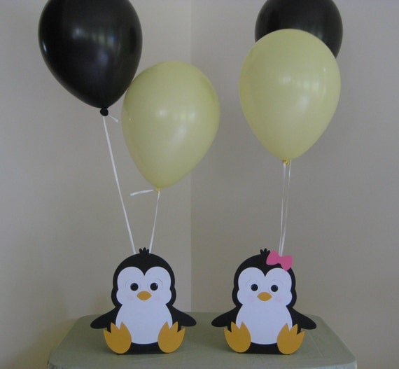 Penguin birthday party centerpiece balloon holders boy girl