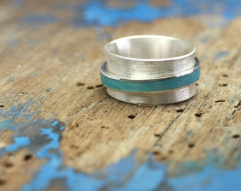 925 Silver Spinner Ring, Rotating ring Ocean, silver ring with movable color insert band