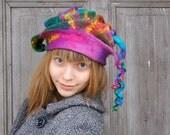 Unique fancy felted hat with long dreadlocks, colorful. OOAK
