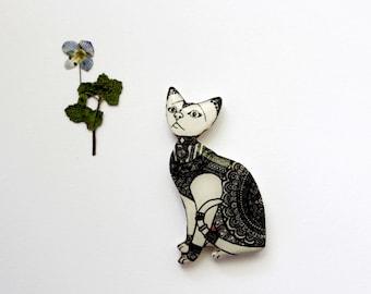 black and white cat pin cat jewelry animal jewelry cat gifts animal gifts animal jewelry for her gift for her gift for girlfriend gift pets