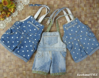 Kawkana - Polka Dots Overalls, Jeans, Short Pants for MSD, MNF, JID, other 1/4 bjd