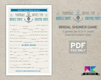 Nautical Mad Libs Bridal Shower Game, Anchor, Starfish, Personalized, Bridal Shower Games, Mad Libs, Wedding Libs, Bridal Libs