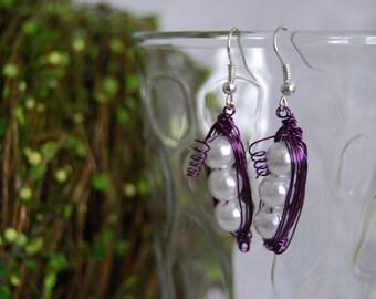 Purple Peas in a Pod Earrings