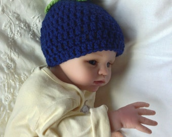 baby /toddler /children blueberry hat with green leaves