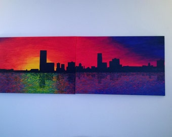 Abstract Skyline Painting on Canvas