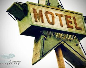 Vintage sign, vintage neon, Motel, California, Summer, Vintage Style Art, Photographic Print, Kristine  Photography