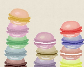 BUY2GET1FREE Watercolor macaron clipart for scrapbooking, card making, personal and commercial use, instant download