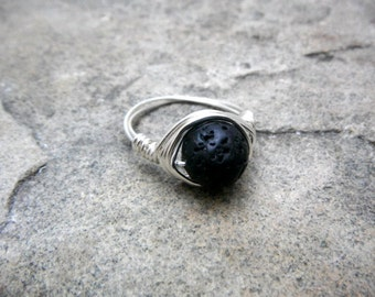 Black Lava Rock Ring, Chunky Black Ring, Wire Wrapped Ring, Silver Ring, Wire Wrapped Jewelry Handmade, Chunky Ring