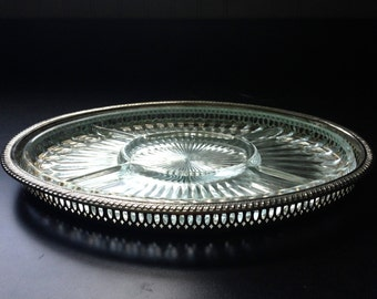 Vintage Silver Plated Olive Platter - Cheese Tray - Serving Sectional Tray : sectional tray - Sectionals, Sofas & Couches