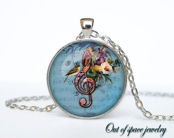 Clef necklace treble clef pendant G-Clef necklace music jewelry