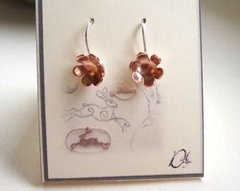 Little Flower Earrings Copper with Sterling Silver