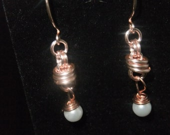 Rose Gold Coil Drop Earrings with White Pearl