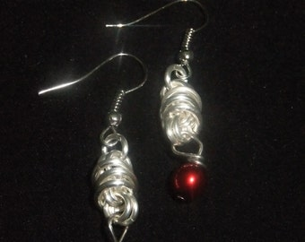 Silver Coil Drop Earrings with Red Pearls