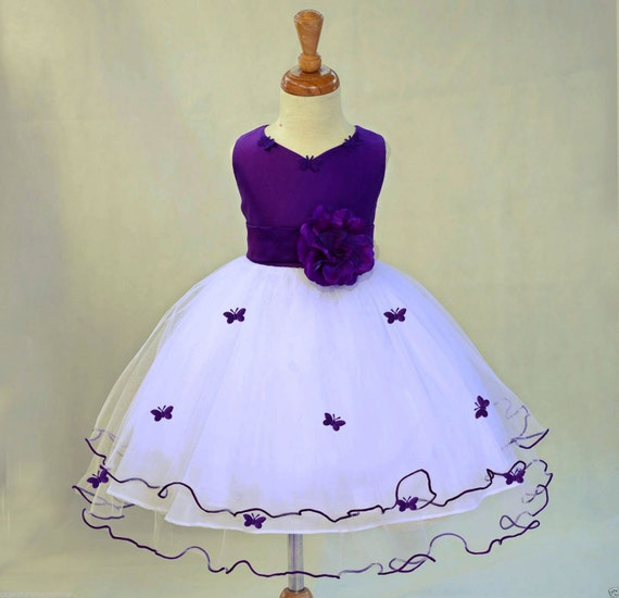 Purple And Ivory Wedding Dresses : Purple and ivory butterfly pageant easter wedding flower
