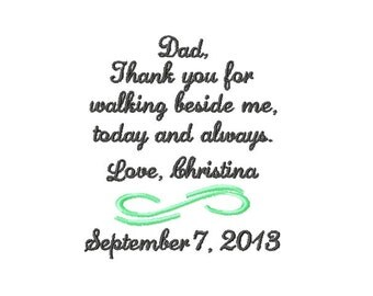 FATHER Of The BRIDE Handkerchief Hanky Hankie - Thank You For Walking Beside Me Today and Always - FoB - Dad