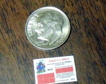 Unique Handmade 1 12 Dollhouse Set of 6 Miniature Lottery Tickets Creepy Cute 01