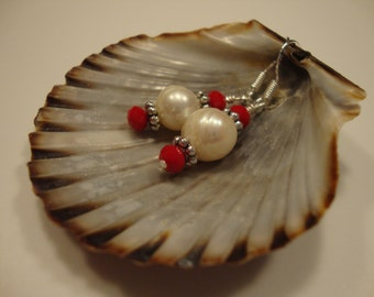 Freshwater Pearl Earrings with Silver and Red Accents