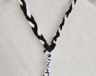 Black and white braided tee shirt necklace