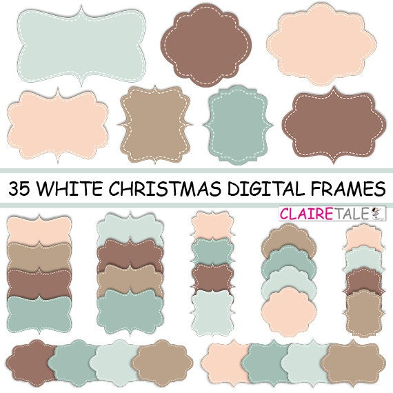 """Digital clipart labels: """"WHITE CHRISTMAS FRAMES"""" clipart frames, labels, tags for scrapbooking, cards, invitation, stationary, albums"""