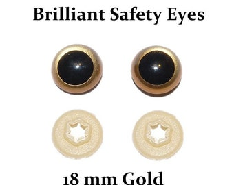 18mm Safety Eyes Gold Brilliant with Round Pupil (One Pair)