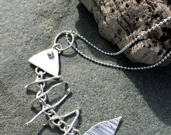 Solid Silver Skeleton Fish Necklace