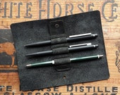 Mini Pen Roll - Handmade Leather Pens and Pencil Pouch Black or Brown