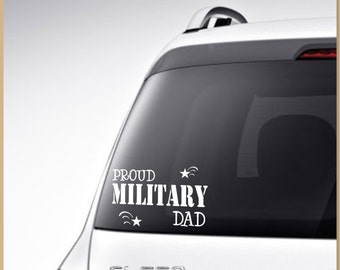proud military family wife mom dad husband car decal vinyl lettering proud military car decal print