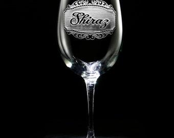 Engraved Shiraz Wine Glass