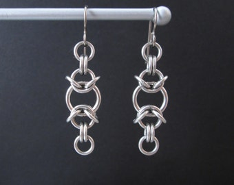 Chainmaille Earrings, Stainless Steel Earrings, Chain Maille Jewelry, Hypoallergenic Earrings, Chain Mail Jewelry Chainmail Jewelry titanium
