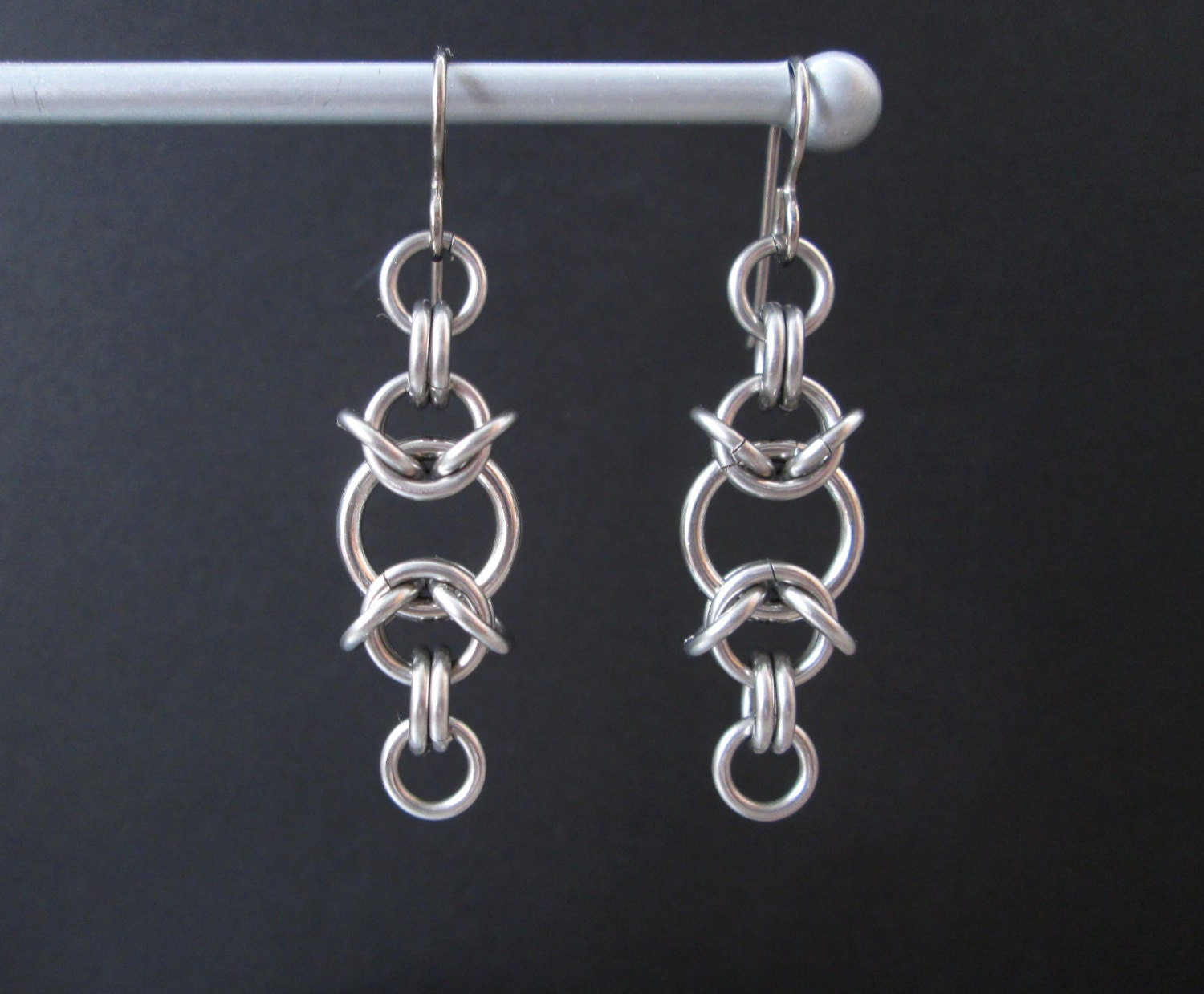 chainmaille earrings stainless steel earrings chain maille