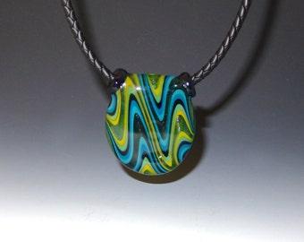 Hollow Wigwag Glass Pendant, Green, Blue, Gold - flamework, lampwork, boro