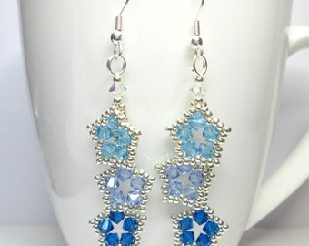 Fallings stars earrings, blue star earrings, swarovski earrings, aqua swarovski, sapphire swarovski, star earrings, blue earrings,