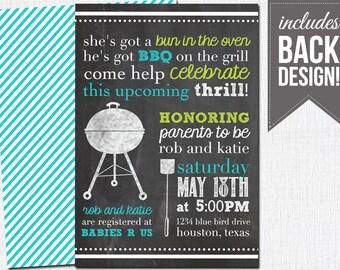 bbq baby shower invitation, chalkboard baby shower, backyard bbq, couples, printable, custom
