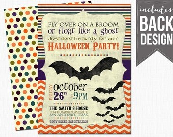 halloween invitation, bats, printable, custom