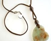 Green Prehnite Heart Pendant on Cord